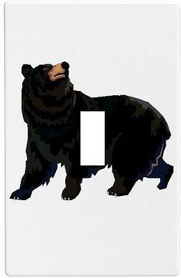 black bear wallplate wall plate decorative light