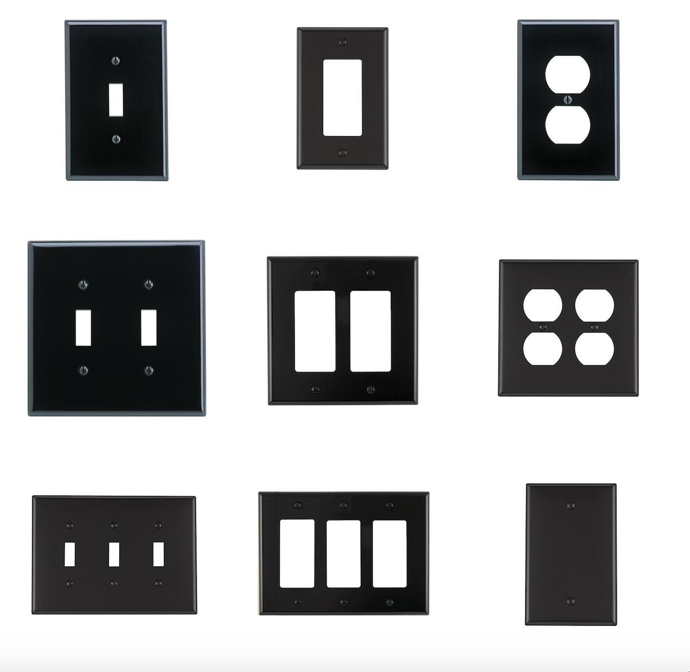 black nylon wall plate duplex toggle blank