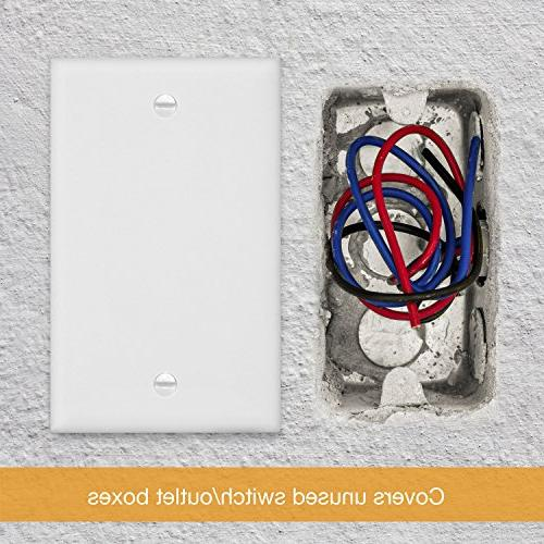 ENERLITES Blank Cover Wall Plate, Size Polycarbonate Thermoplastic, 8801-W,