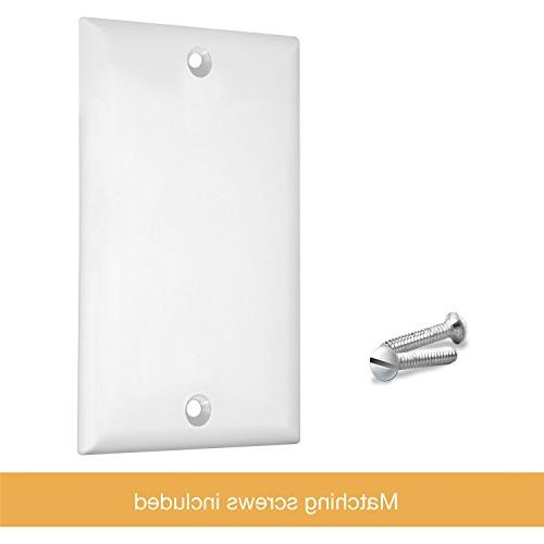 ENERLITES Blank Cover Plate, Standard Size Polycarbonate 8801-W,
