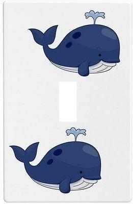 blue whale wallplate wall plate decorative light