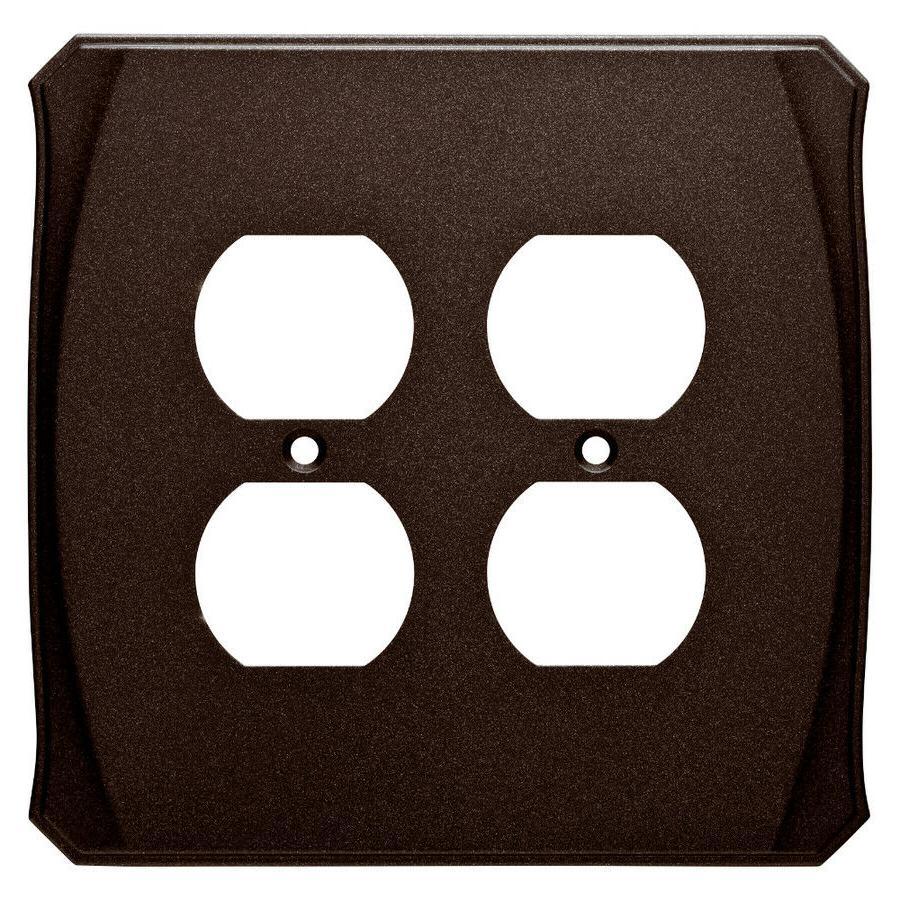Bronze Double Duplex Wall Plate Brainerd W34478 Serene