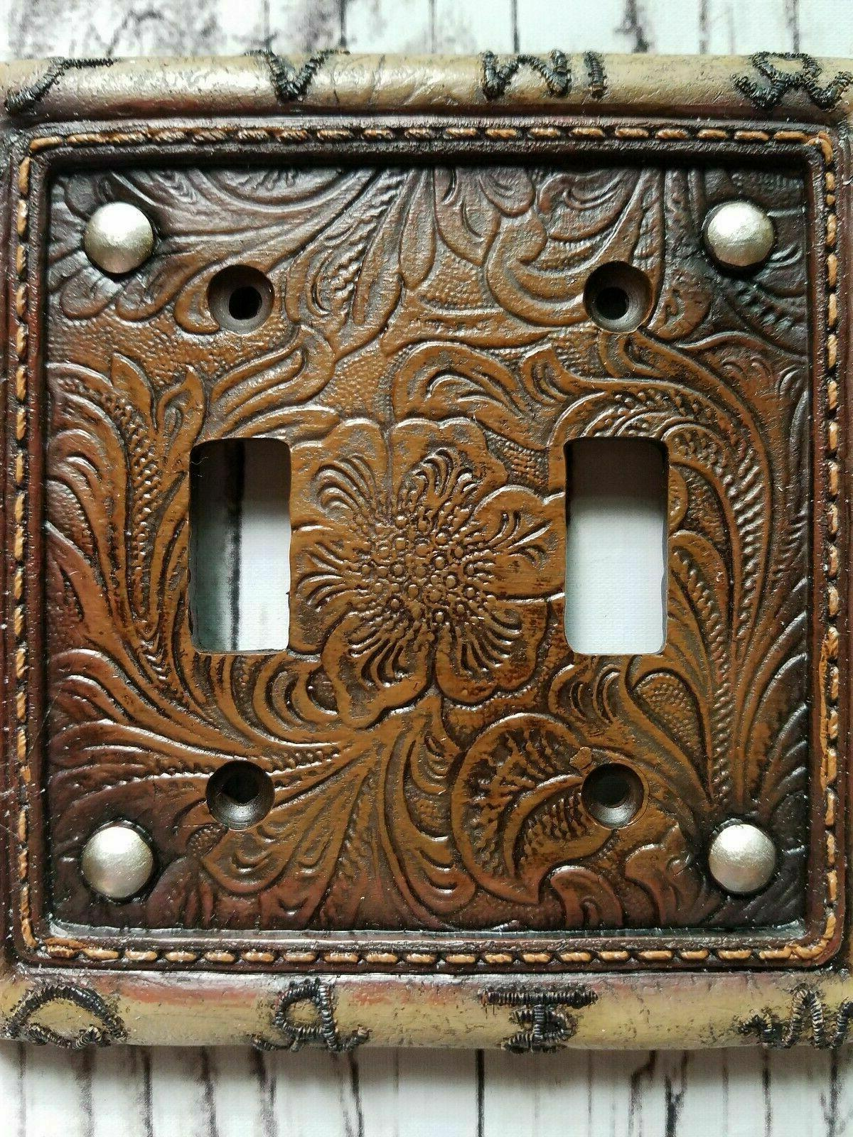 Brown Tooled Plate Cover Southwest Western #