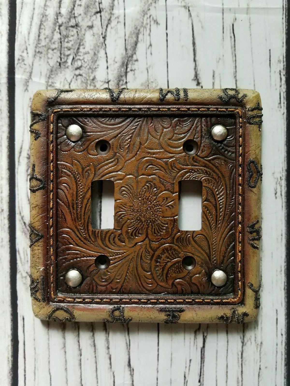 brown tooled double switch plate cover outlet