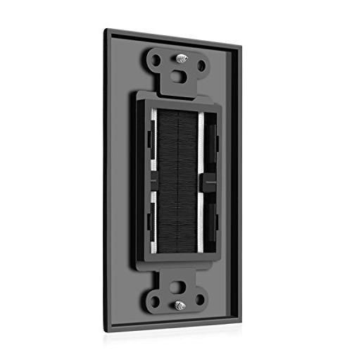 TNP Brush Wall Plate - Single Cable Entry Style Strap Opening Port Insert Socket Jack Outlet Panel Black)
