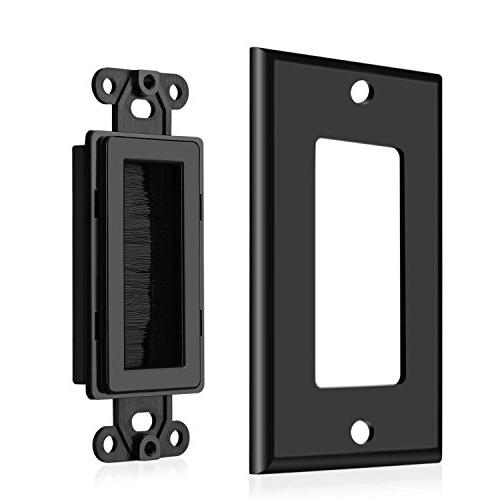 TNP Brush Wall - Single Gang Entry Access Style Opening Insert Jack Decorative Outlet Mount Black)