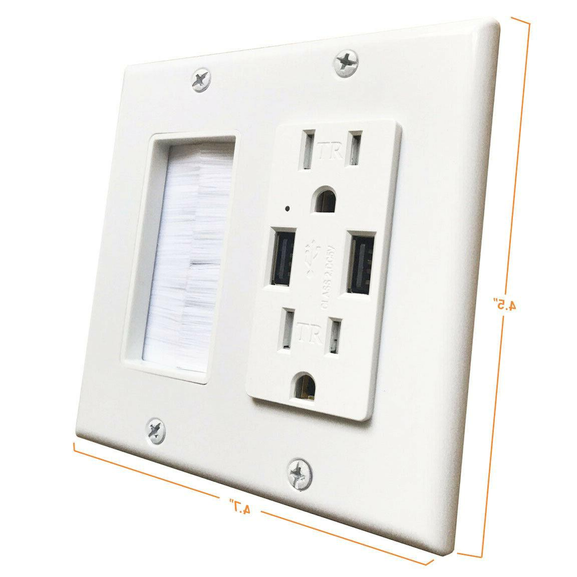 Brush Wall Plate Electrical 15a, 2.4A USB Charging