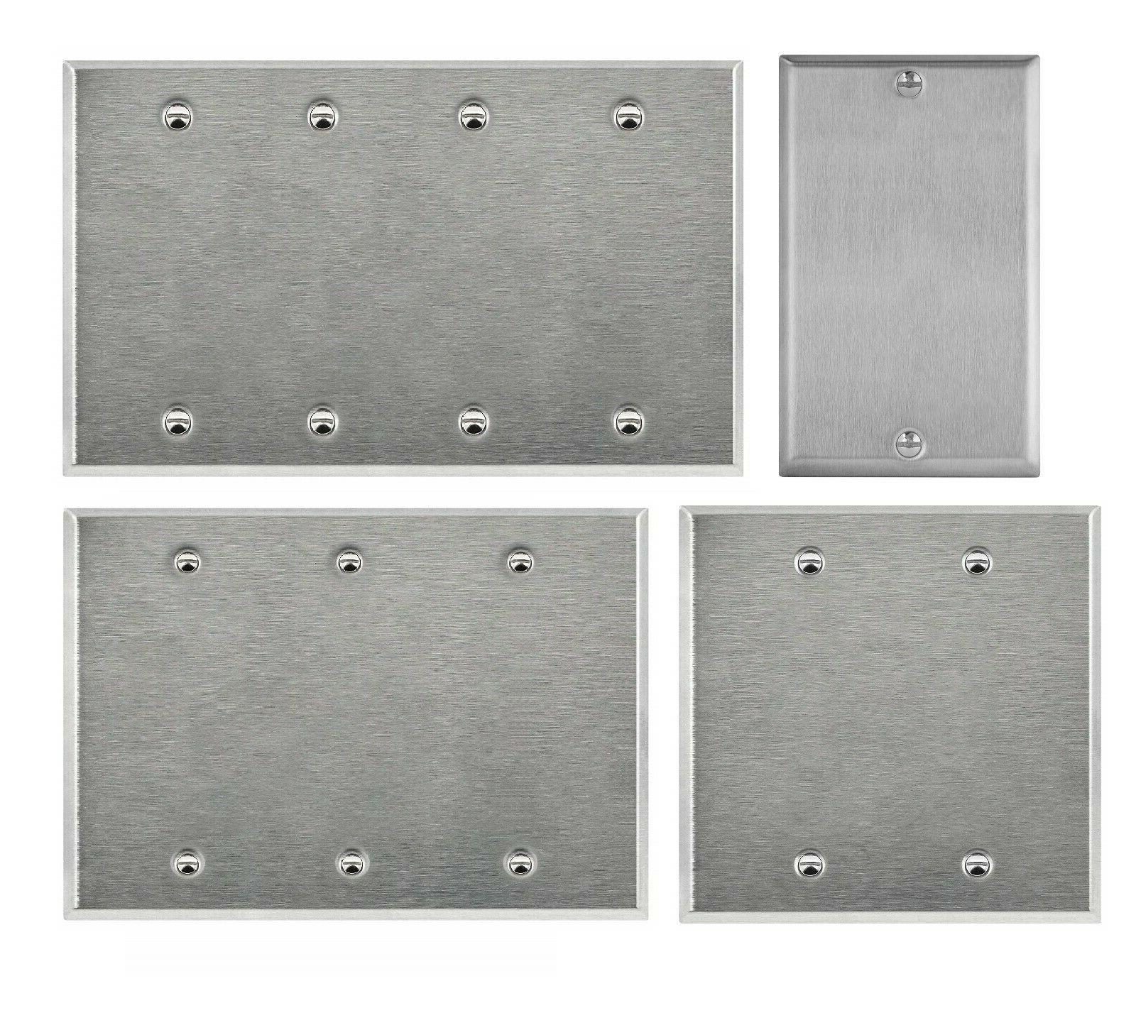 brushed stainless steel blank outlet cover wall