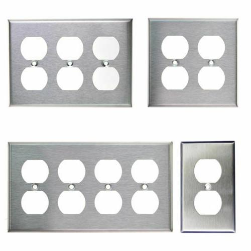 brushed stainless steel outlet cover duplex metal