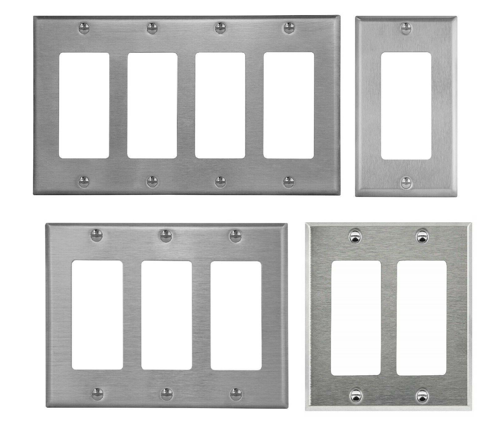 brushed stainless steel outlet cover rocker switch