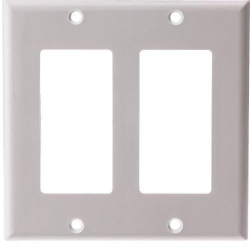 CableWholesale Decora Wall Plate, White, 2 Hole, Dual Gang -