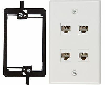 Buyer's Point 4 Port Cat6 Wall Plate, Female-Female White wi