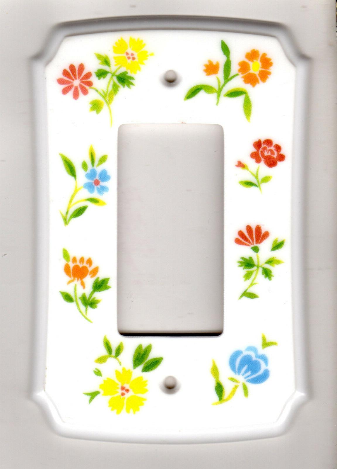 classic single rocker switch plate cover flowers
