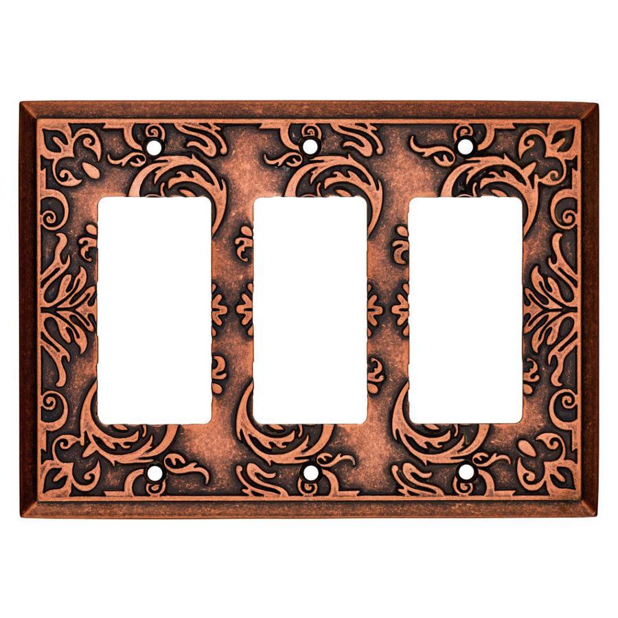 copper triple decorator wall plate fairhope w33493