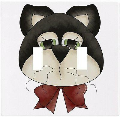 country cat head wallplate wall plate decorative