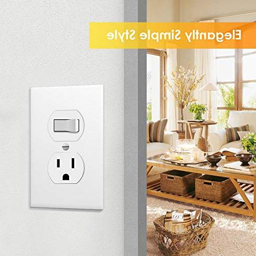 Outlet White Plates Plug Cover, 1-Gang Duplex Decorative Unbreakable Polycarbonate Material, Size Faceplates, Pack