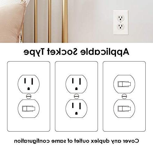 Outlet Plates Light Plug 1-Gang Decorative Plate Unbreakable Polycarbonate Material, Size Faceplates, Pack
