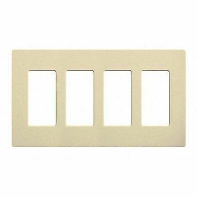 LUTRON CW-4-IV Wallplate,4-Gang,Decora,Ivory