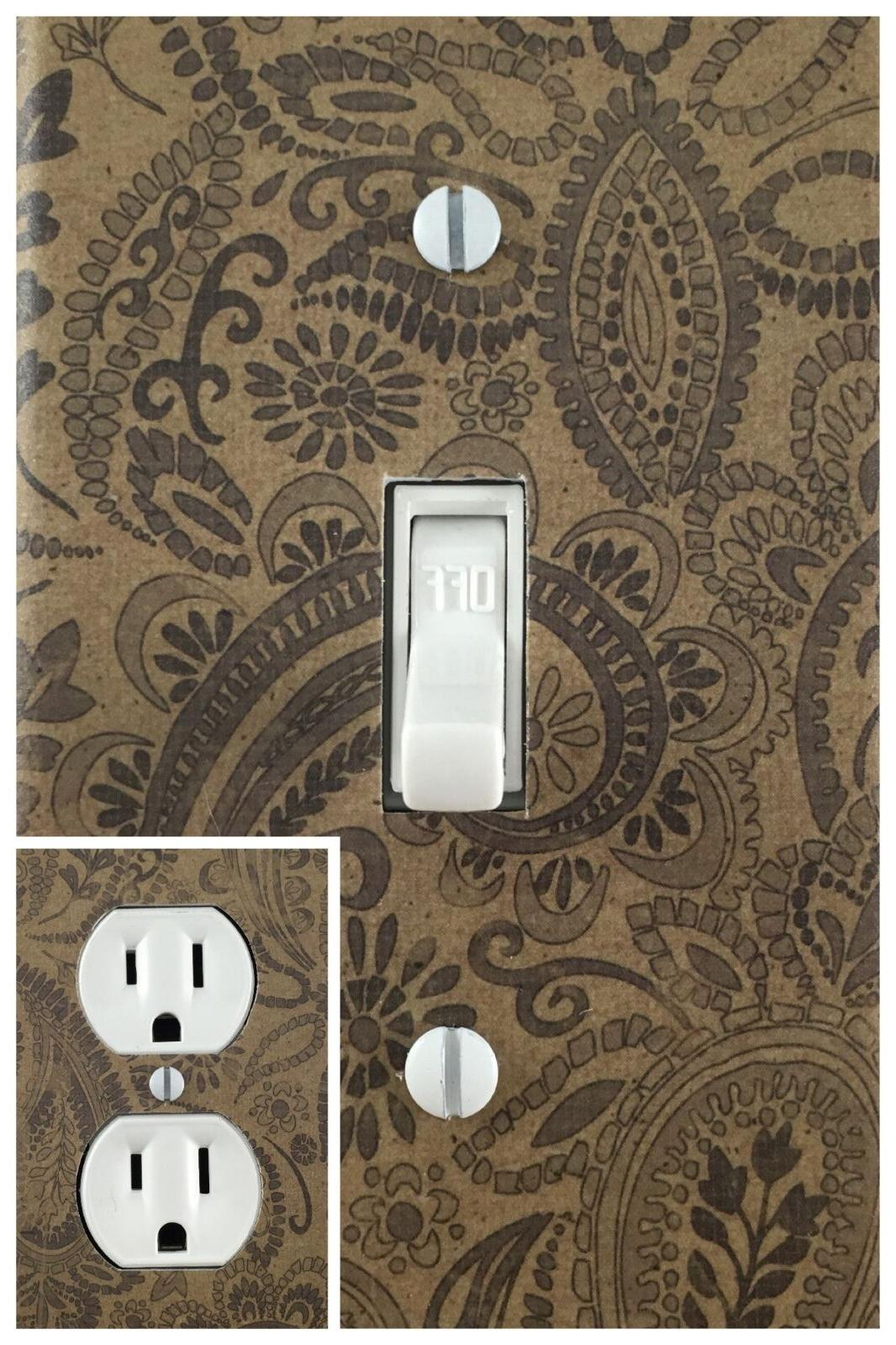 Decorative Outlet Wall Plate & Brown Paisley