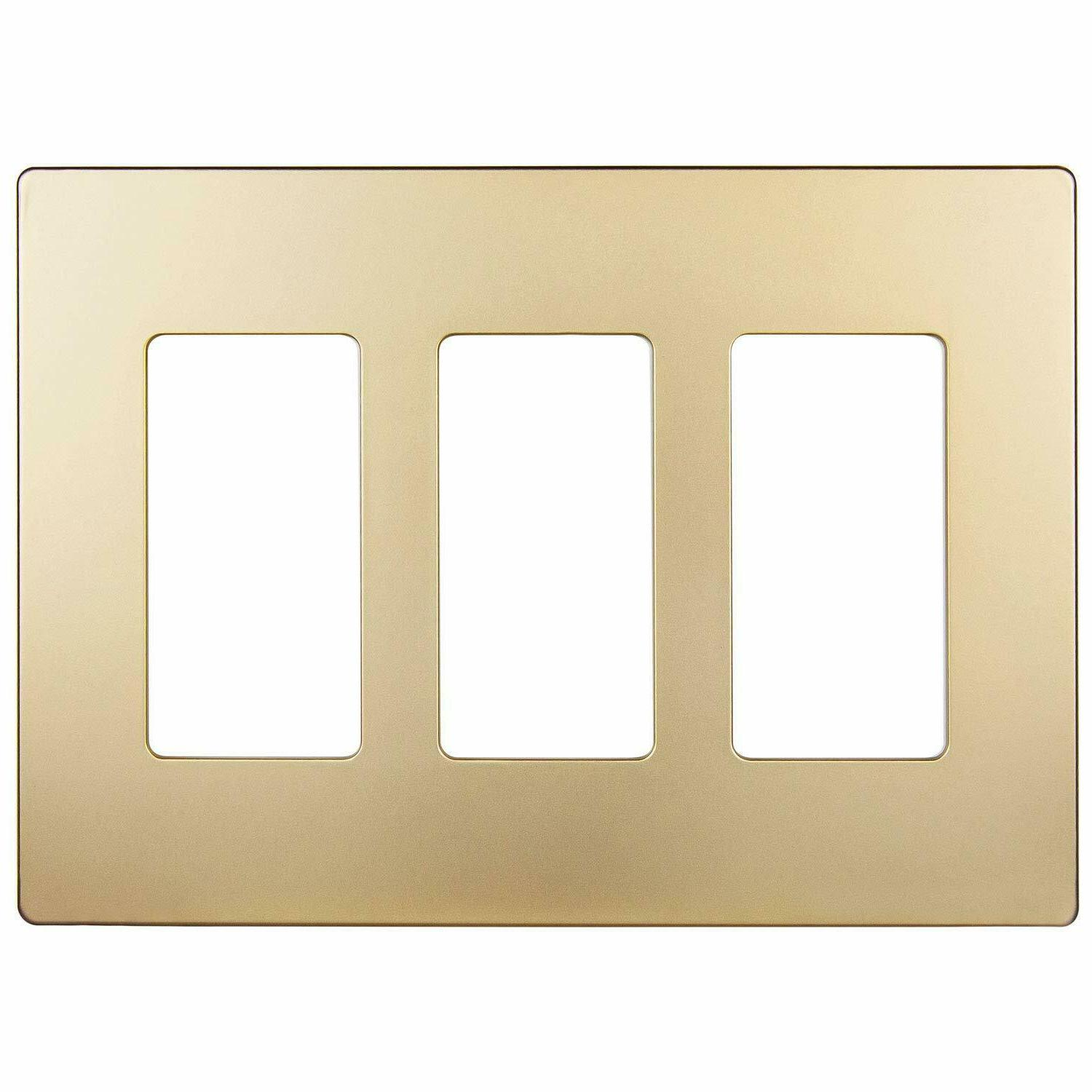 decorator screwless wall plate 3 gang outlet