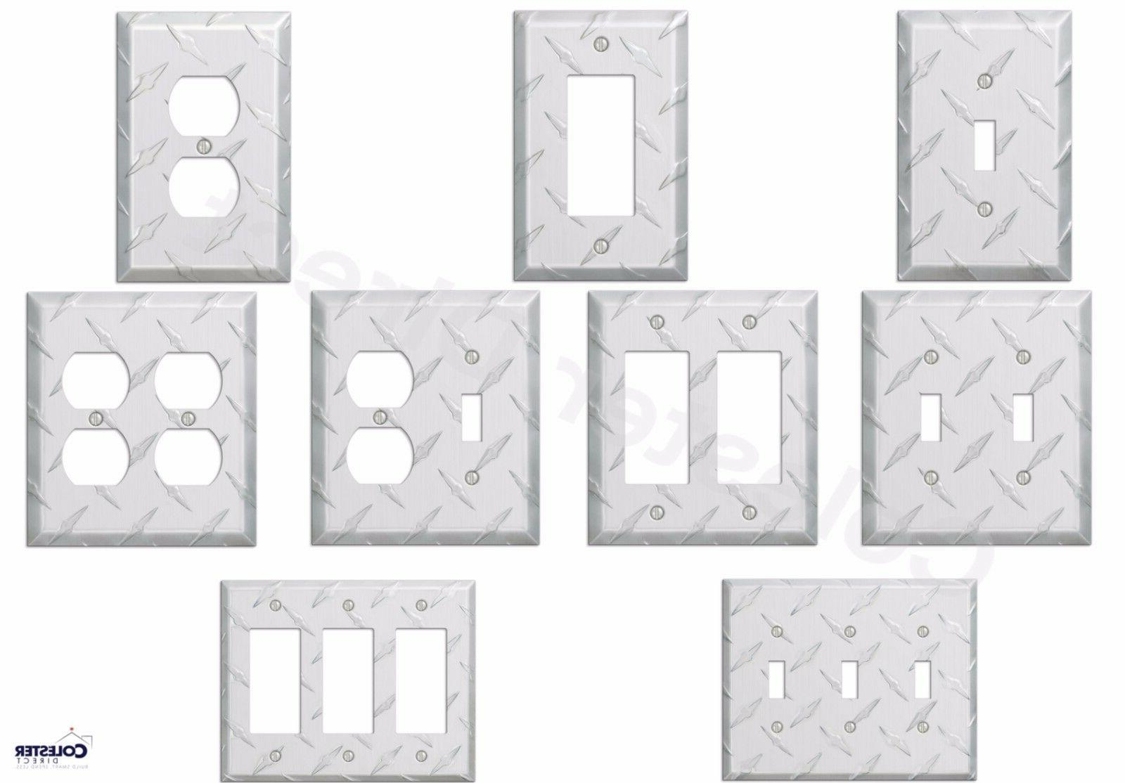 diamond plate aluminum wall switch plate outlet