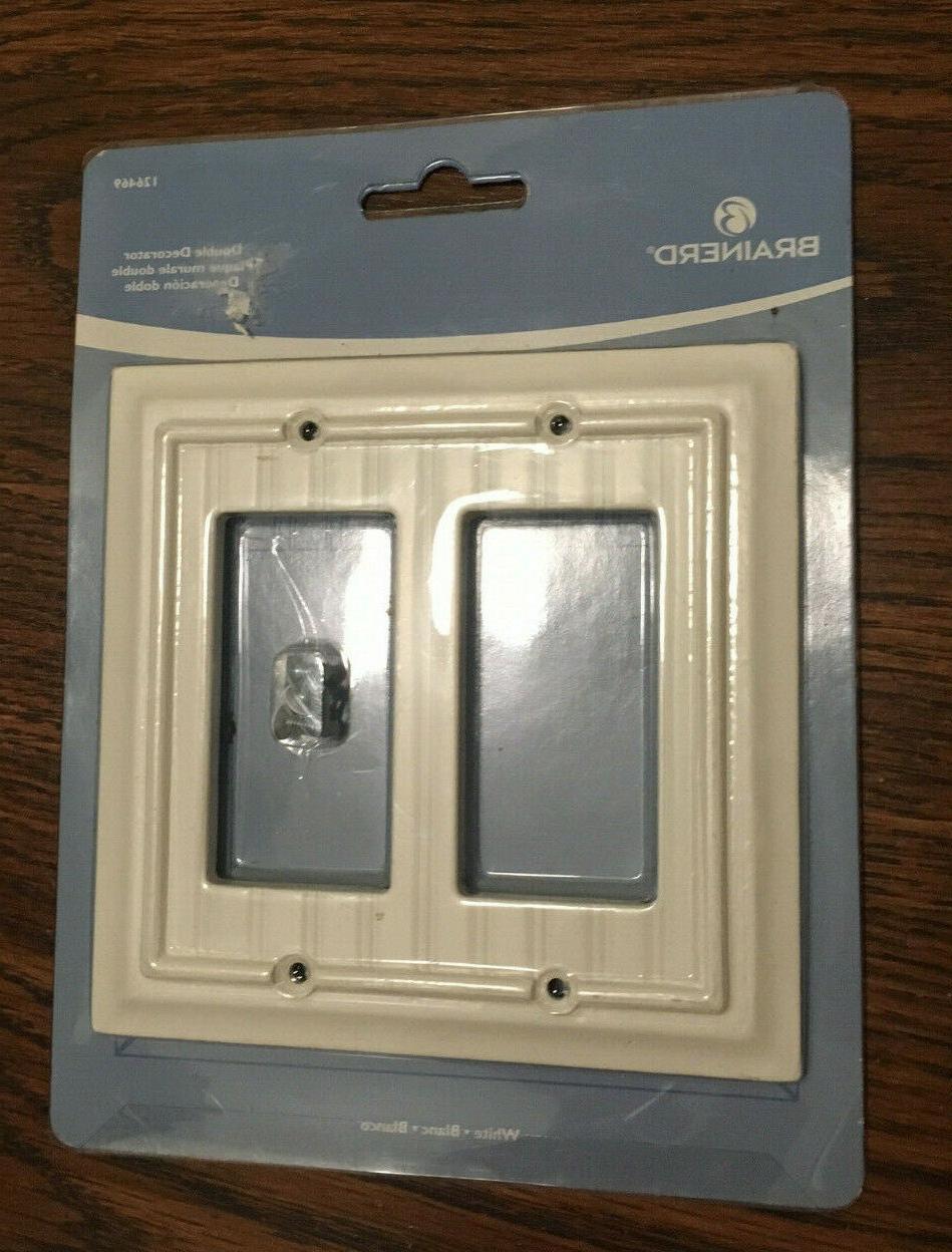double decorator beadboard white wall plate 126469