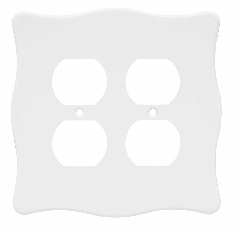 Double Duplex Wall Plate White Nylon Brainerd 64599