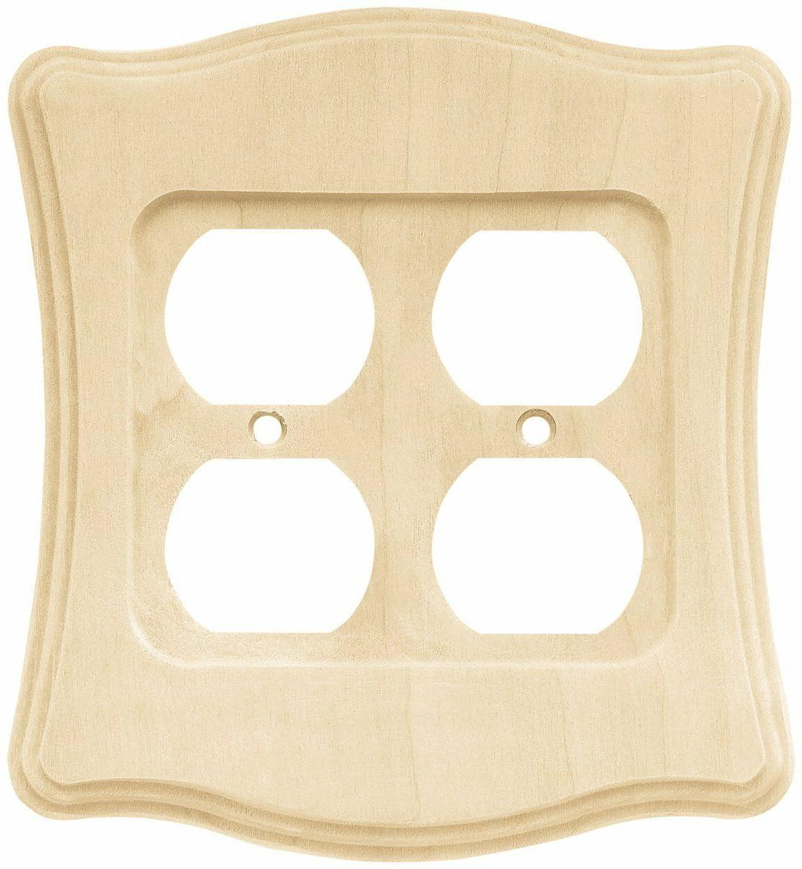 Double Duplex Wall Plate Wood Unfinished Franklin Brass 6462