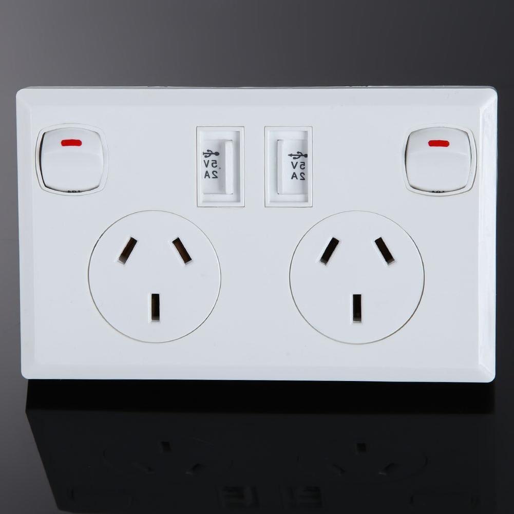 Double AU Socket Power Point Supply <font><b>Plate</b></font> 2 <font><b>Home</b></font>