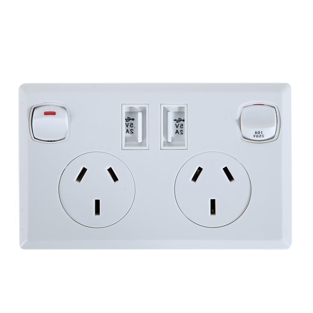 Double with AU Plug Socket Power Point Supply <font><b>Home</b></font> <font><b>Tools</b></font>
