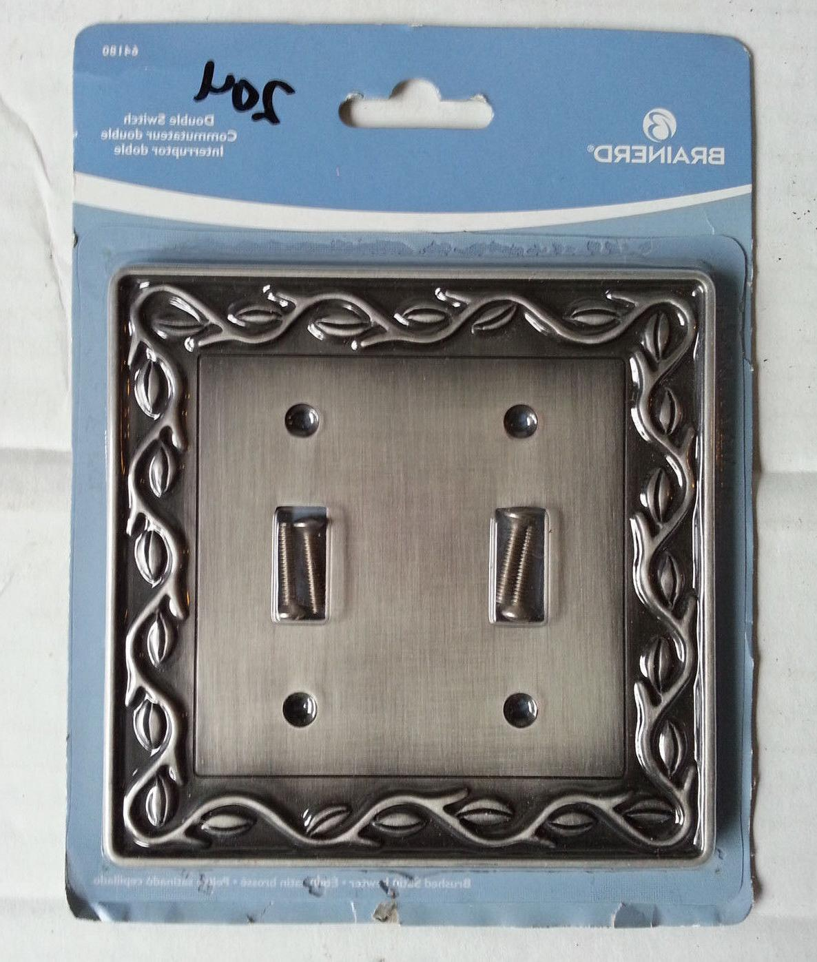 Brainerd Double Toggle Wall Plate Brushed Satin Pewter