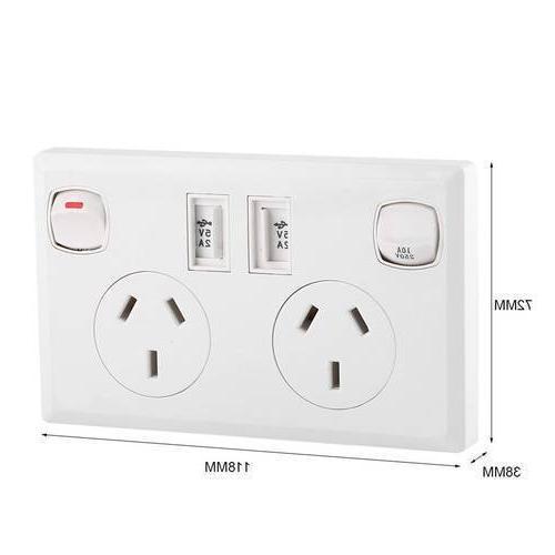 Double USB Electrical <font><b>Wall</b></font> Socket AU Point Supply <font><b>Plate</b></font> <font><b>Home</b></font> <font><b>Improvement</b></font>