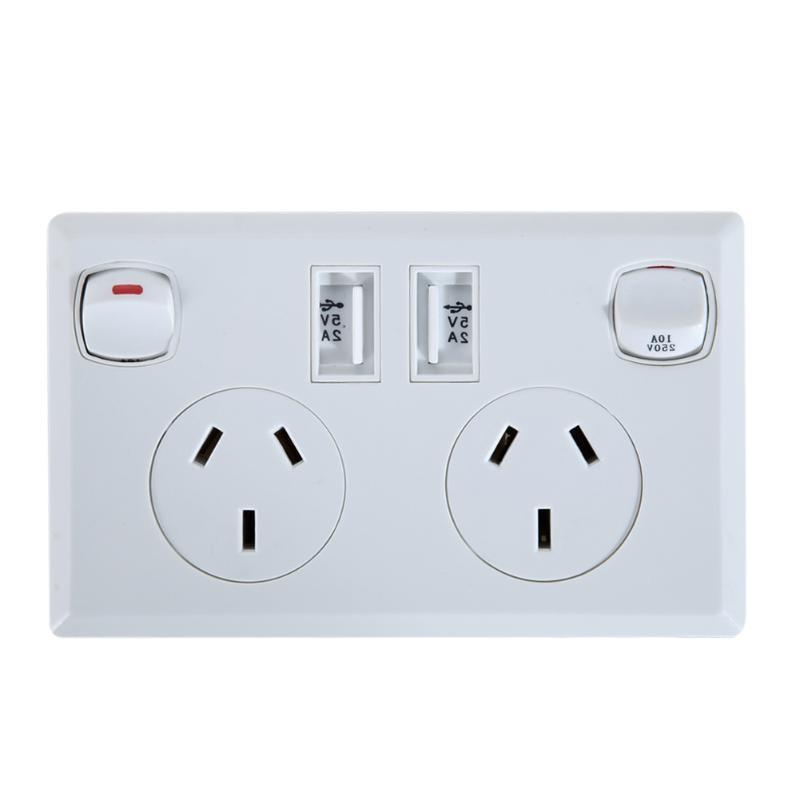 double usb australian au plug electrical font