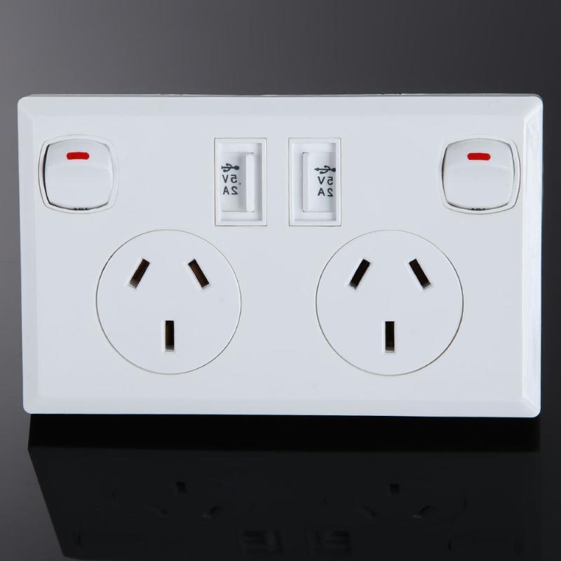 Double Australian Plug <font><b>Home</b></font> <font><b>Plate</b></font> Switch <font><b>Improvement</b></font>