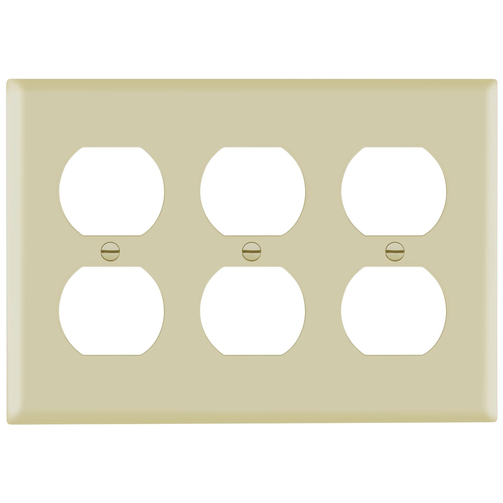 duplex receptacle outlet wall plate 3 gang