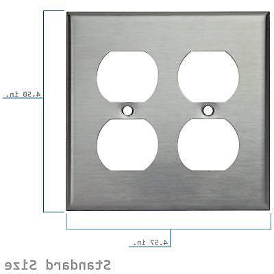 Enerlites Duplex Receptacle Stainless Steel Wall Plate, Stan