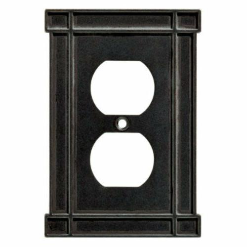 Duplex Wall Plate Arts & Crafts Soft Iron Black Brainerd 144
