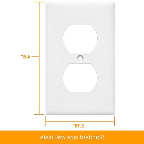 Duplex by 8821-W Home Electrical Standard Size, Polycarbonate Material, Pack Dual Replacement Receptacle