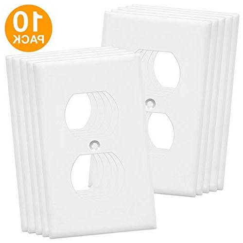 Duplex Wall by Enerlites Electrical Cover, 1-Gang Standard Material, - Pack Dual Receptacle Faceplates