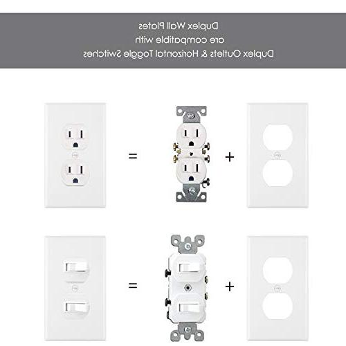 Duplex Plates, Gang Size Outlet Covers, Polycarbonate UL Listed, White