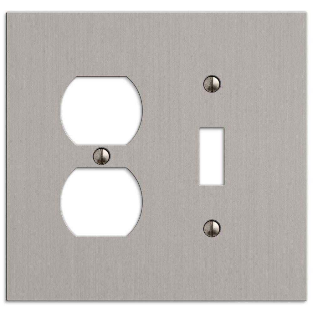 Hampton Bay Elan 1 Toggle 1 Duplex Wall Plate - Brushed Nick