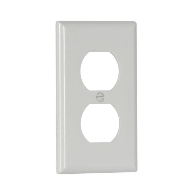 Electrical Wall Plate Single Duplex Receptacle WHITE