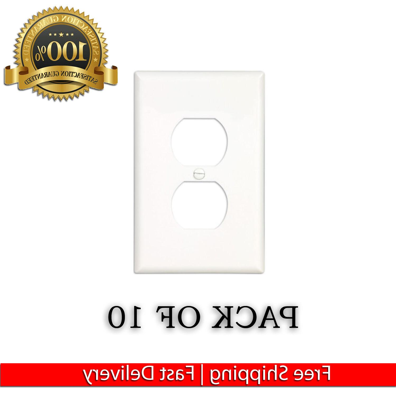 10 PACK ELECTRICAL OUTLET WALL FACE PLATE COVER SINGLE DUPLE