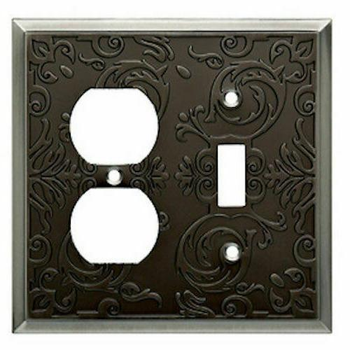 Fairhope Toggle Duplex Wall Plate Heirloom Silver Brainerd W