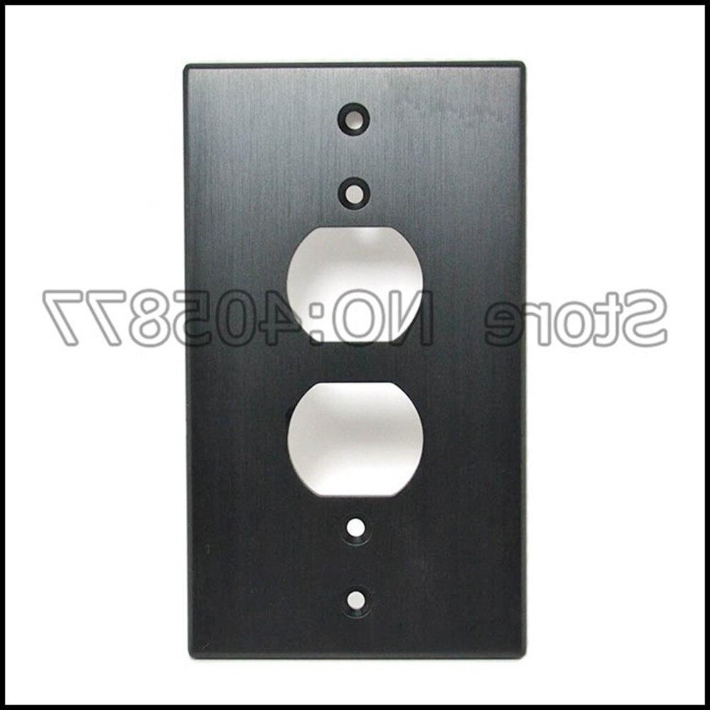 Gold/<font><b>Silver</b></font>/Black Power Receptacles Outlet Aluminum Panel <font><b>Plate</b></font>