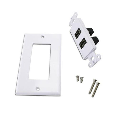 2-Port 1.4 Wall Face Panel Cover Coupler Extender White