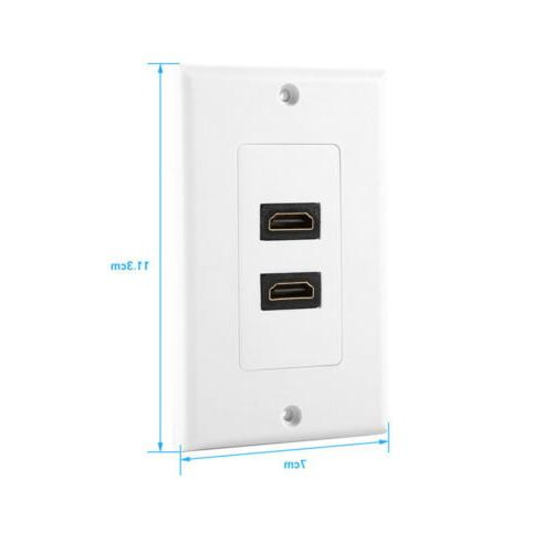 2-Port 1.4 Face Plate Coupler Outlet Extender White
