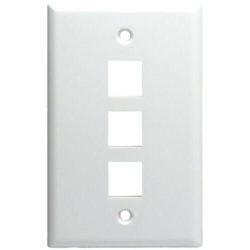 DataComm Electronics 3 Port Keystone Plate, White