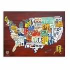 Trademark Fine Art License Plate Map USA Gallery Wrapped Can