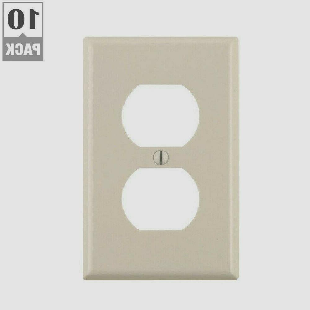 Leviton 10 Count Light Almond Duplex Receptacle Wall Plates